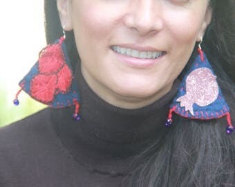 Pomegranate Tree Earrings Wool Lace Crochet Felted Unusual Sparkle Persian Pomegranate Hand Sewn for sensitive ears