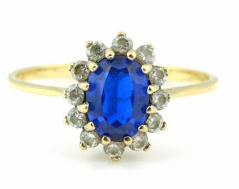 9ct Gold Sapphire Glass Cluster Ring