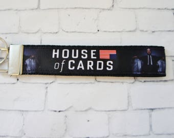 HOUSE of CARDS key Fob, key chain, wristlet keychain, Frank Underwood, Netflix, TV serie,