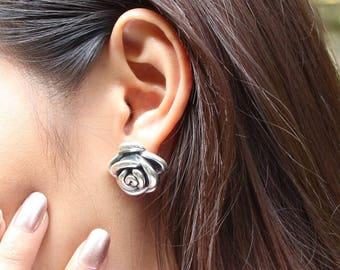 Silver Rose Studs, Sterling Silver Earrings, Silver Ear Studs, Bohemian Earrings, Stocking Stuffers, Gift Earrings, Pretty Ear Studs (E123)