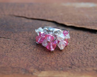 Pink and transparent bicone ring