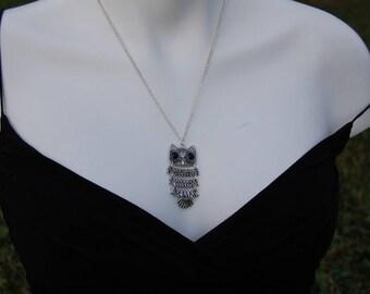 Necklace antique silver owls original