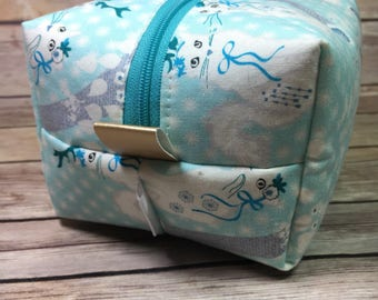 Whimsical Cat Bag, Boxy Bag, Box Pouch, Makeup Bag, Cosmetic Bag, Project Bag, Notions Case, Toiletry Kit