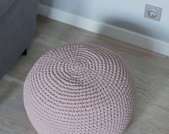 READY TO SHIP! Cocoa Brown Knitting Pouf | Bean bag | Footrest ball Knit | Crochet Pouf Poof | Ottoman | Footstool | Floor cushion | Puff