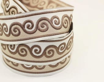 35 mm  Brown Scroll Jacquard trim (1.37 inches), Native American Jacquard,  ribbon, woven trim, woven jacquard, jacquard ribbons