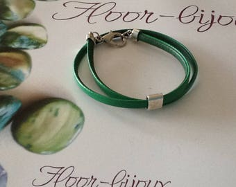 Men and women green synthetic leather bracelet