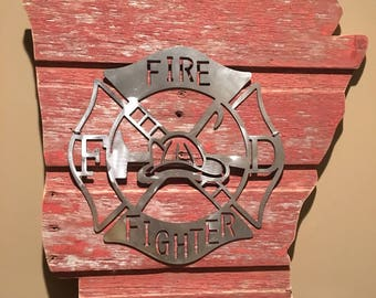 Arkansas Firefighter Barnwood Sign