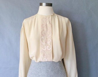 vintage silk blouse/ minimalist silk top/ silk shirt/ embroidered/ pleated silk top / secretary blouse women's size M/L