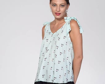 Sleeveless shirt, summer loose fit top, Cats print, mint top, v neck top, oversize top, lace up straps, causal v neck top, tied up straps