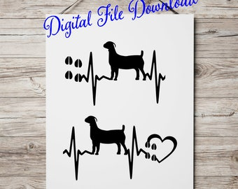 Show Goat SVG files for cricut silhouette Show Meat Goat Heartbeat hoof marks with heart, Scrapbook, Tshirt Tote Silhouette PDF, Dxf, png