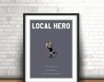 Alan Shearer Minimalist Newcastle United Art Print 'Local Hero'