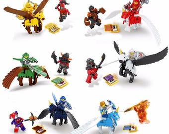 12 Custom Nexo Knights minifigures plus 6 horses minifigures with wings, no manuals and no boxes
