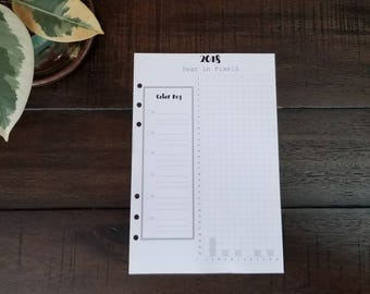 A5 2018 Year in Pixels Printed Planner Inserts