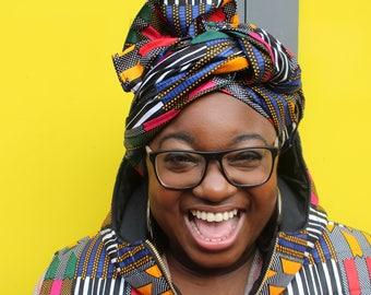 African Print Headwrap African Head Tie Wax Print Turban Ankara Head Scarf African Headtie Wax Print Headwrap Wax Print Scarf