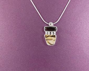 Petrified Wood Pendant, Petrified Peanut Wood Pendant, Quartz Pendant, Smokey Quartz Pendant, Sterling Silver Necklace