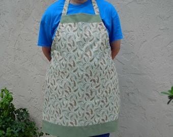Size Large apron w/2 potholders, paisley apron, kitchen apron, full apron