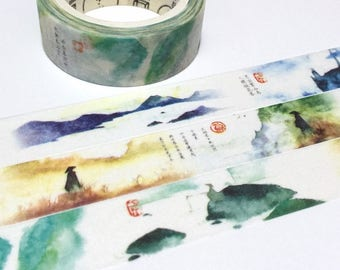 Colorful landscape washi tape 8M nature scenery mountain scenery peaceful world watercolor world Zen theme dreamland masking tape decor
