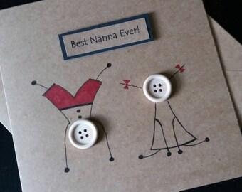 Nanna- birthday card-  personalised- grandmother- nanny-thank you card- mother's day- grandparents day - best nanna- grandma- granny
