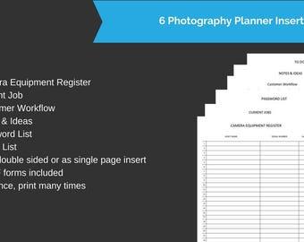 6 Photography Planner Inserts for A5 Size planners - Digital Forms - Printable Inserts - Planner Inserts kikki k , Filofax