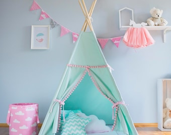Teepee, mint and pink, tipi, children's teepee, playtent, zelt, wigwam, tent, kids teepee,  high quality teepee