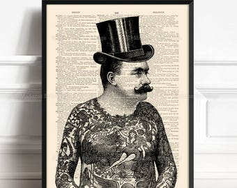 Tattooed Gentleman, Tattoo Lover Gift, Tattoo Poster, Funny Dorm Poster, Hipster Tattoos, Tattoo Parlor, Top Hat Gentleman, Home Dorm 043
