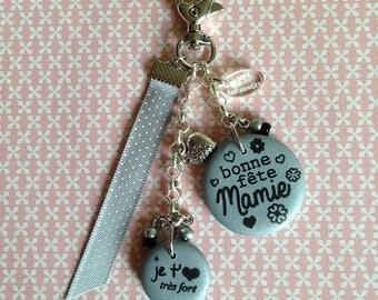 "happy birthday Grandma keychain or bag charm ""I love you very much"""