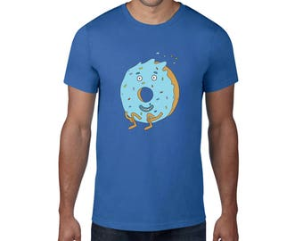 Dunkin Donut Tshirt, Mens Cotton Tee, Illustrated Tshirt, Donut Clothes