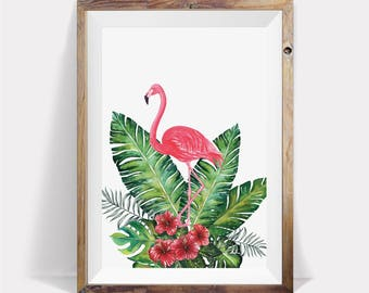 Flamingo Print,Tropical Printable,Tropical Wall Art,Flamingo Poster,Tropical Wall Decor,Pink And Green,Large Wall Art,Pink Flamingo,Wall Art
