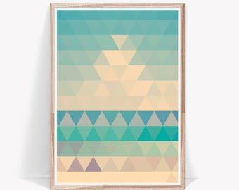 Triangle Print, Abstract Print, Blue and Yellow, Modern Print, Modern Wall Decor, Printable Art, Digital Download, Modern Triangle Print Art