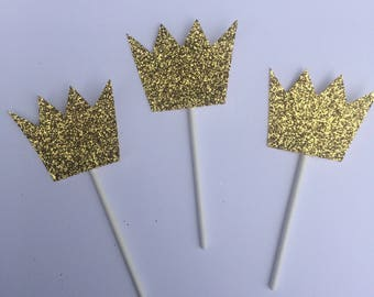 Crown Cupcake Toppers- Set of 12
