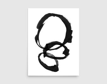 Black & White Rings Minimalist Painting, Abstract Painting, Abstract Minimalist Art, Framed Print, Scandinavian Print, Abstract Art Print