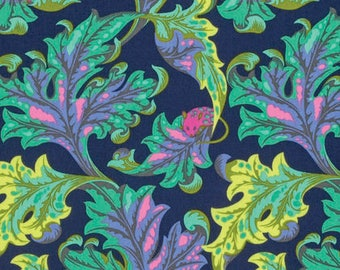 Tula Pink Tabby Road Eek in Blue Bird PWTP093.BLUEB blue pink and green leaf mouse cotton fabric flowers quilting cotton freespirit