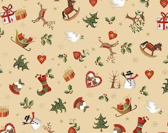 Metallic Christmas Classic Icon Scatter from Andover cotton fabric gold red yellow material quilting supplies stockings