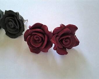 Vintage Handcrafted Rose Studs - Deep Red or Black