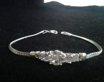 Vintage Silver Curb Chain Bracelet with Diamantes