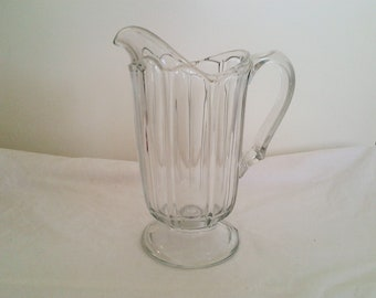 Vintage Heavy Pressed Glass Pitcher