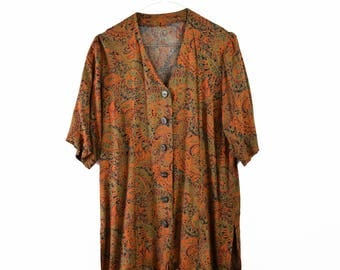 Vintage 70s blouse, paisley blouse, brown blouse, viscose blouse, summer light blouse, short sleeved blouse,