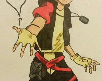 Keyblade wielder| 9x12inches original character fan art illustration
