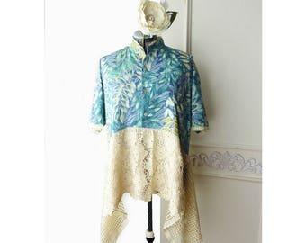 Plus size Upcycled Hawaiian shirt, Womens Hawaiian Print tunic, crochet lace, Boho, summer asymmetrical tunic, cotton lawn, lagenlook, 1X