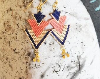 Boucles d'oreilles perles tissées, boucles d'oreille pendantes, boucles d'oreilles saumon, or blanc,