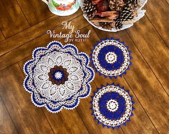 Royal Blue Doily Set - Set of 3 - Blue Lace Doilies - Farmhouse Decor - Vintage Home Decor - Crochet Centerpiece - French Country Decor