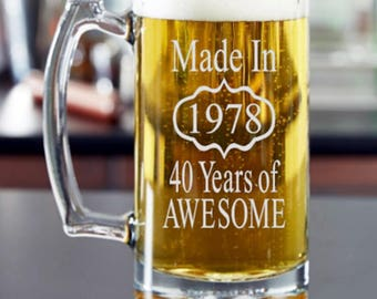 40th Birthday Gift, 40th Birthday Gift for Man, 40th Birthday Beer Mug, Birthday Mug, Mans 40th, Birthday Gift for Him, Made in 1978