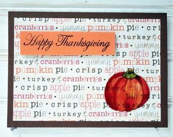 THANKSGIVING Card - Handmade/Homemade Happy Thanksgiving Card