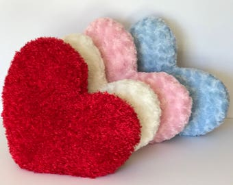 "Decorative Heart Pillow 11x13"" and 13x15"" Faux Fur in assorted colors"