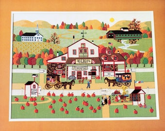 Charles Wysocki Old Glory Farms Pumpkins Fall Autumn Embellished Crewel Kit