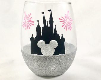 Disney Wine Glass / Custom Glitter Dipped Stemless Wine Glass / Gifts for Her / Custom Wine Glass