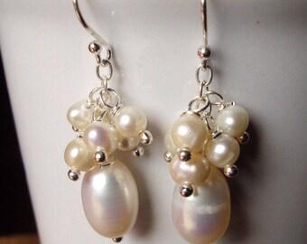 White pearl earrings,sterling silver earrings