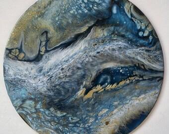 Fluid art, fluid painting, resin art, natalie muir, original art, abstract painting, circle art, indigo, modern art, flow art, contemporary