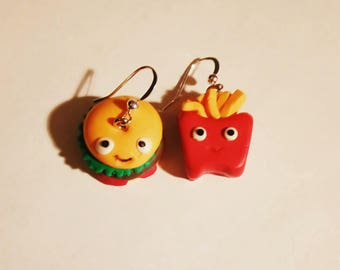 Pet Burger And Fries Earrings. Hamburger And French Fries. Cute. kawaii. Silver Plated Hooks.