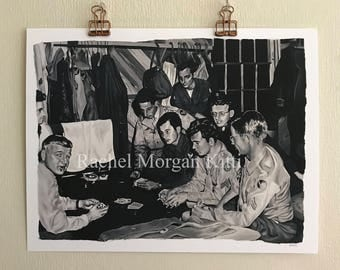Suckers, painting, oil paint, oil painting, vintage photograph, army, world war II, poker, black and white, cigarette, art print, print,